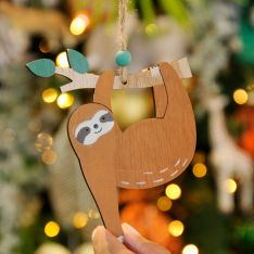 11cm Brown Sloth with Hanging Arm Christmas Tree Decoration