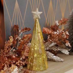 Battery Gold Crackle Effect LED Table Top Christmas Tree