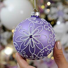 8cm Purple Flower Design Glass Christmas Tree Bauble