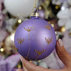 8cm Purple Stem Design Glass Christmas Tree Bauble
