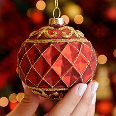 8cm Red Criss Cross Design Glass Christmas Tree Bauble