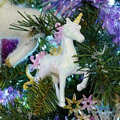 10cm White Unicorn with Raised Head Christmas Tree Decoration
