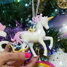 10cm White Unicorn with Lowered Head Christmas Tree Decoration