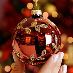 8cm Burgundy with Gold Leaf Glass Christmas Tree Bauble
