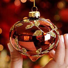 8cm Burgundy with Gold Leaf Glass Christmas Tree Teardrop Bauble