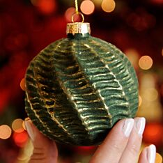8cm Green and Gold Swirl Glass Christmas Tree Bauble