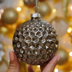 8cm Grey Geometric Hexagon Glass Christmas Tree Bauble