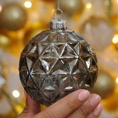 8cm Grey Geometric Triangle Glass Christmas Tree Bauble
