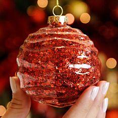 8cm Red Ridged Glass Christmas Tree Bauble
