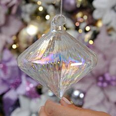 11cm Clear Iridescent Ridged Glass Christmas Tree Bauble