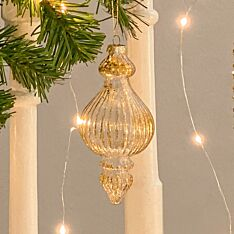 14cm Gold Glass Finial Christmas Tree Bauble