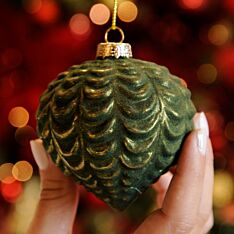8cm Gold and Green Ridged Glass Christmas Tree Bauble