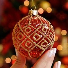 8cm Red with Gold Diamonds Glass Christmas Tree Bauble