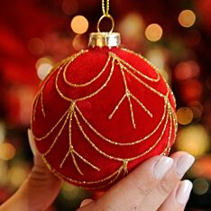 8cm Red Swag Design Glass Christmas Tree Bauble