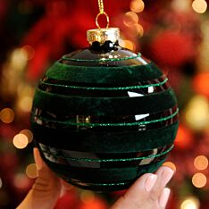 10cm Green with Lines Glass Christmas Tree Bauble