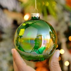 8cm Green Iridescent Glass Christmas Tree Bauble