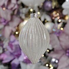 13cm Silver Glitter Ridged Glass Christmas Tree Bauble