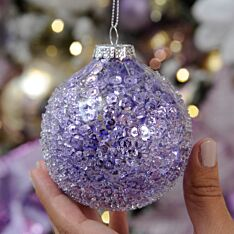 8cm Lilac Glitter Crusted Christmas Tree Bauble
