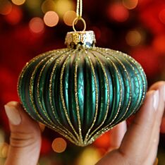 8cm Green and Gold Glitter Ridged Glass Christmas Tree Bauble