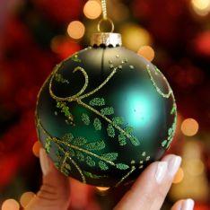 8cm Glitter Leaf Design Glass Christmas Tree Bauble