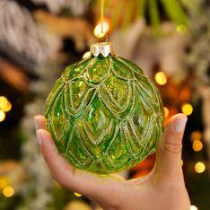 10cm Green Leaf Design Glass Christmas Tree Bauble