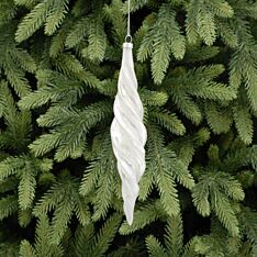 20cm White Pearlescent Twisted Glass Christmas Tree Bauble
