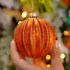 8cm Copper Mercury Effect Ridged Glass Christmas Tree Bauble