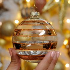 8cm Copper and Clear Stripe Glass Christmas Tree Bauble