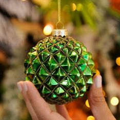 8cm Green and Gold Glitter Spike Glass Christmas Tree Bauble