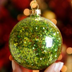 8cm Clear with Green Sequins Glass Christmas Tree Bauble