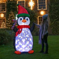 2.1m Inflatable Penguin with Disco Lights Figure