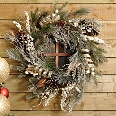 56cm Frosted Bristle Gold Leaf Christmas Wreath