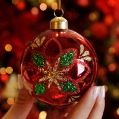 8cm Red Mercury Effect Poinsettia Glass Christmas Tree Bauble