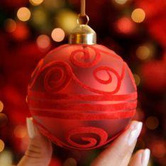 8cm Red Matt with Flock Design Glass Christmas Tree Bauble