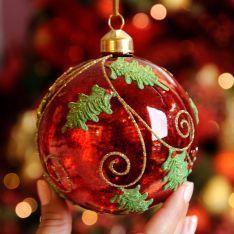 10cm Red Mercury Glitter Swirl Glass Christmas Tree Bauble