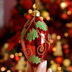 12cm Red Mercury Glittered Swirls Glass Christmas Tree Bauble