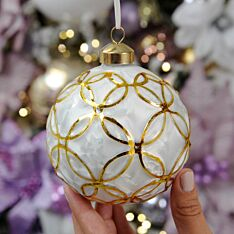 10cm White and Gold Glass Christmas Tree Bauble