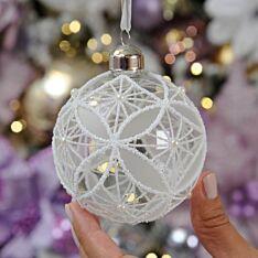 8cm White Glittered Glass Christmas Tree Bauble