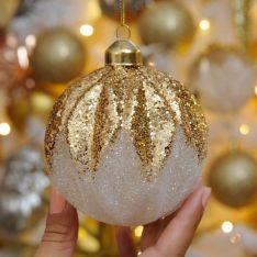 9cm Ombre Copper Glitter Segment Glass Christmas Tree Bauble