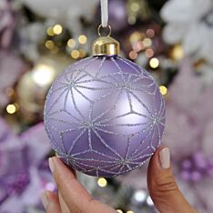 8cm Lilac Geometric Design Glass Christmas Tree Bauble