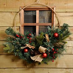 50cm Contemporary Gold Metal Christmas Wreath with Foliage