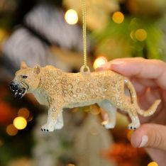 12cm Brown Acrylic Leopard Christmas Tree Decoration
