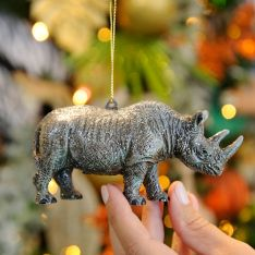 12cm Grey Acrylic Rhinoceros Christmas Tree Decoration