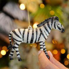 11cm Black and White Zebra Christmas Tree Decoration