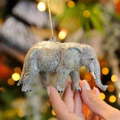 12cm Grey Acrylic Elephant Christmas Tree Decoration