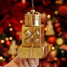 12cm Gold Trio of Presents Christmas Tree Decoration