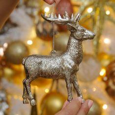 12cm Silver Reindeer Christmas Tree Decoration