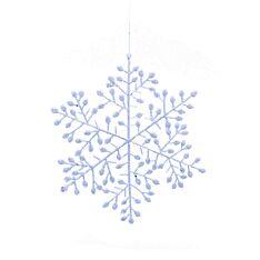 25cm White Glitter Leaf Snowflake Christmas Tree Decoration