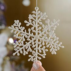 10cm White Glitter Leaf Snowflake Christmas Tree Decoration