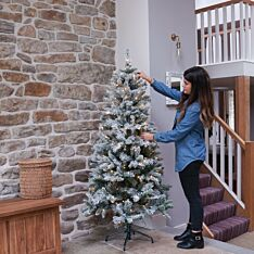 Green Pre-Lit Flocked Heartwood Spruce Christmas Tree